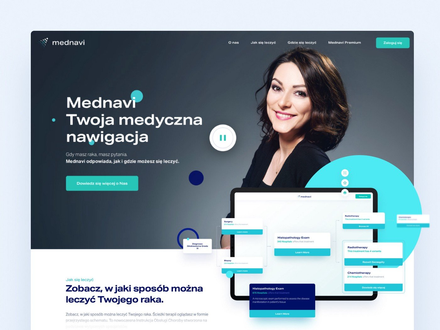Screens from the mednavi landing page