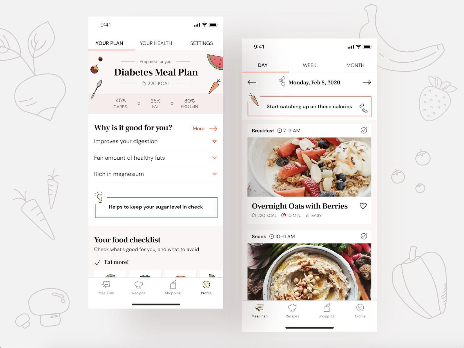 A Healthy Meal app final screens