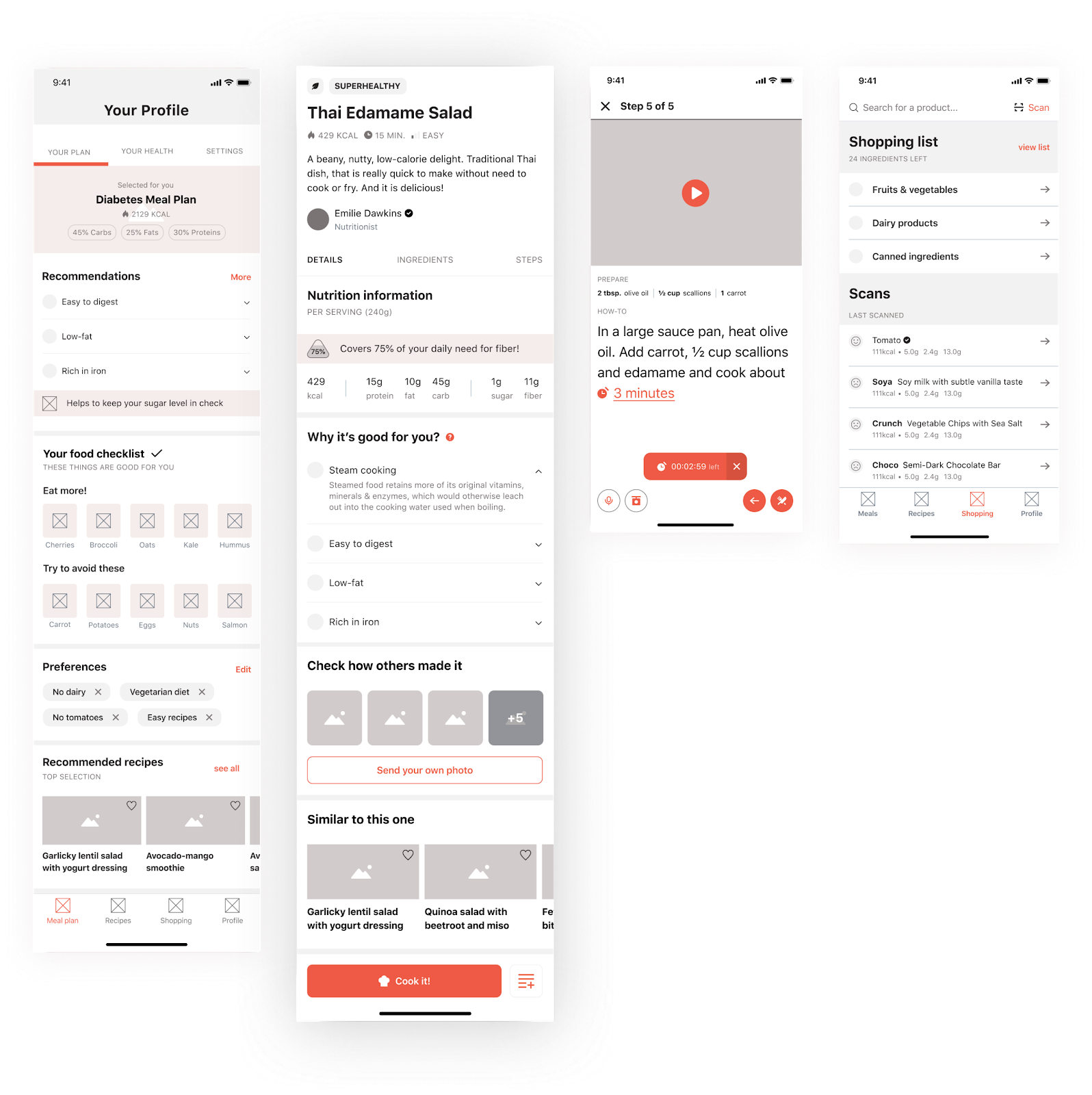 The Healthy Meal app's screens during the wireframing phase